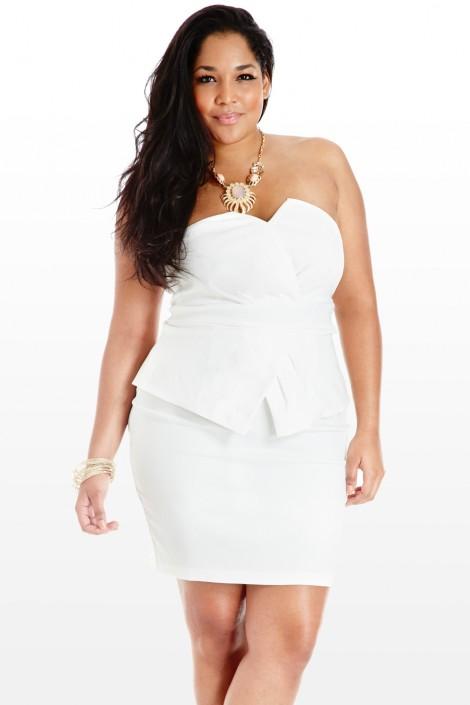 Plus Size White Party Dress Kapres Molene