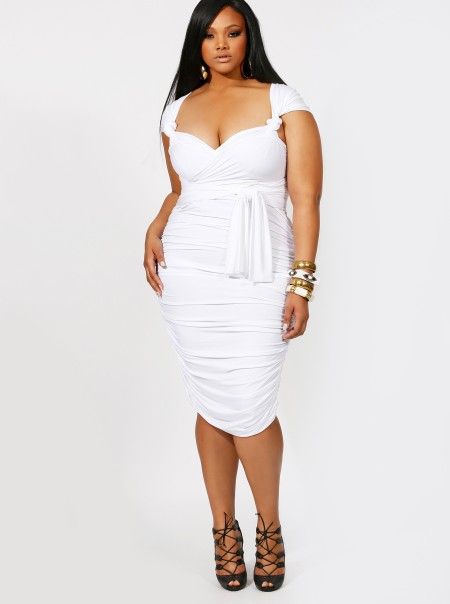 PLUS SIZE WHITE PARTY DRESS - Kapres Molene