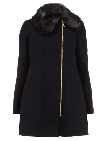 EVANS NAVY FAUX FUR TRIM WOOL COAT
