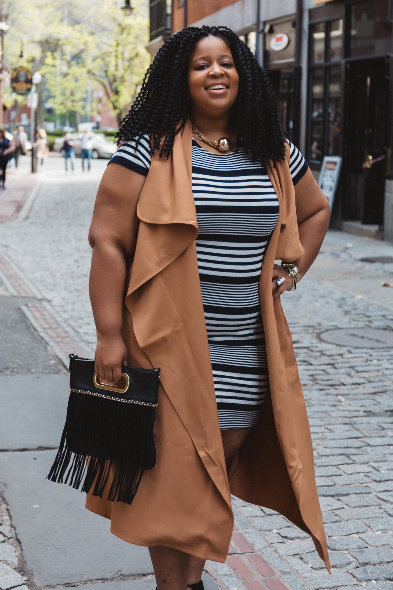Plus Size Woman Wearing Stripes