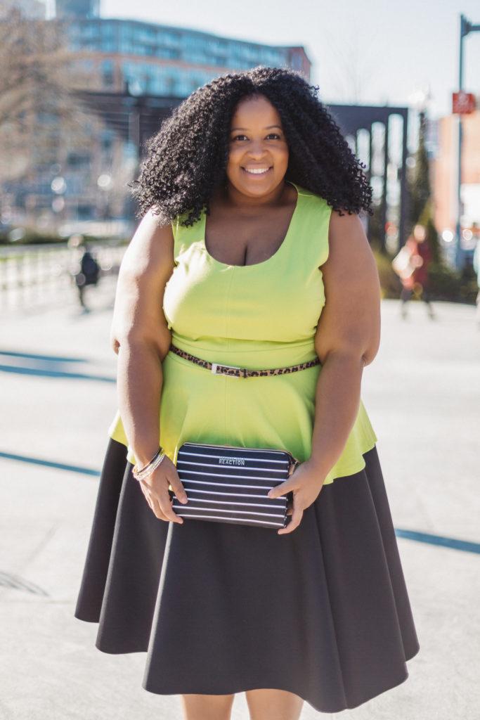 Plus Size Blogger wearing mixed prints Chardline