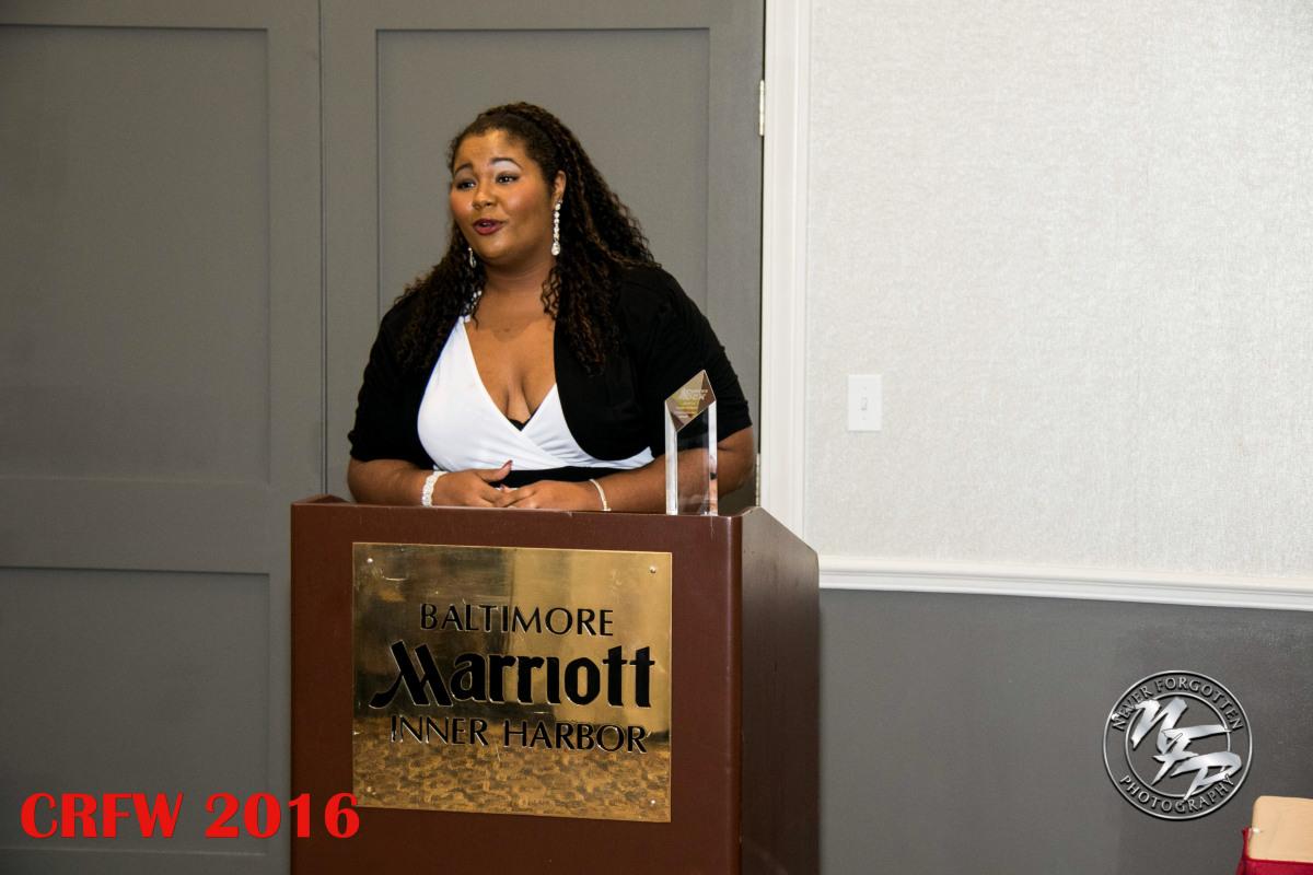 Yazzie Receiving Humanitarian Award at Curves Rocks Weekend