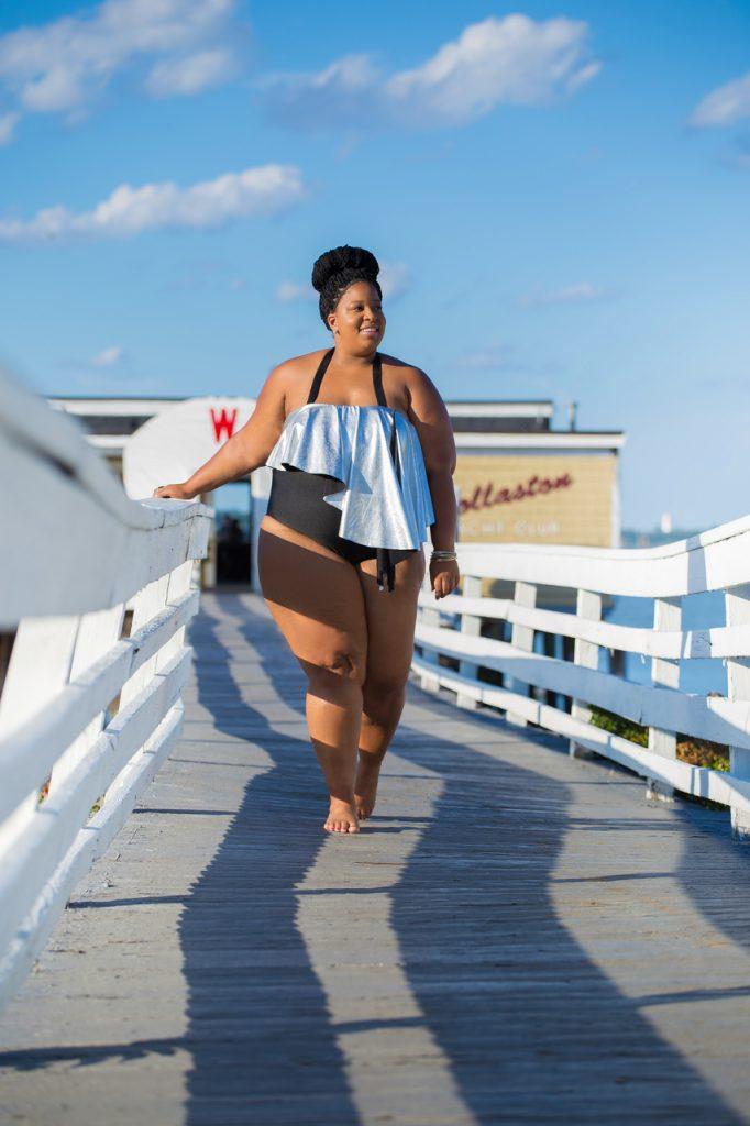 Plus Size Blogger wearing Plus Size Carinval Swimsuit
