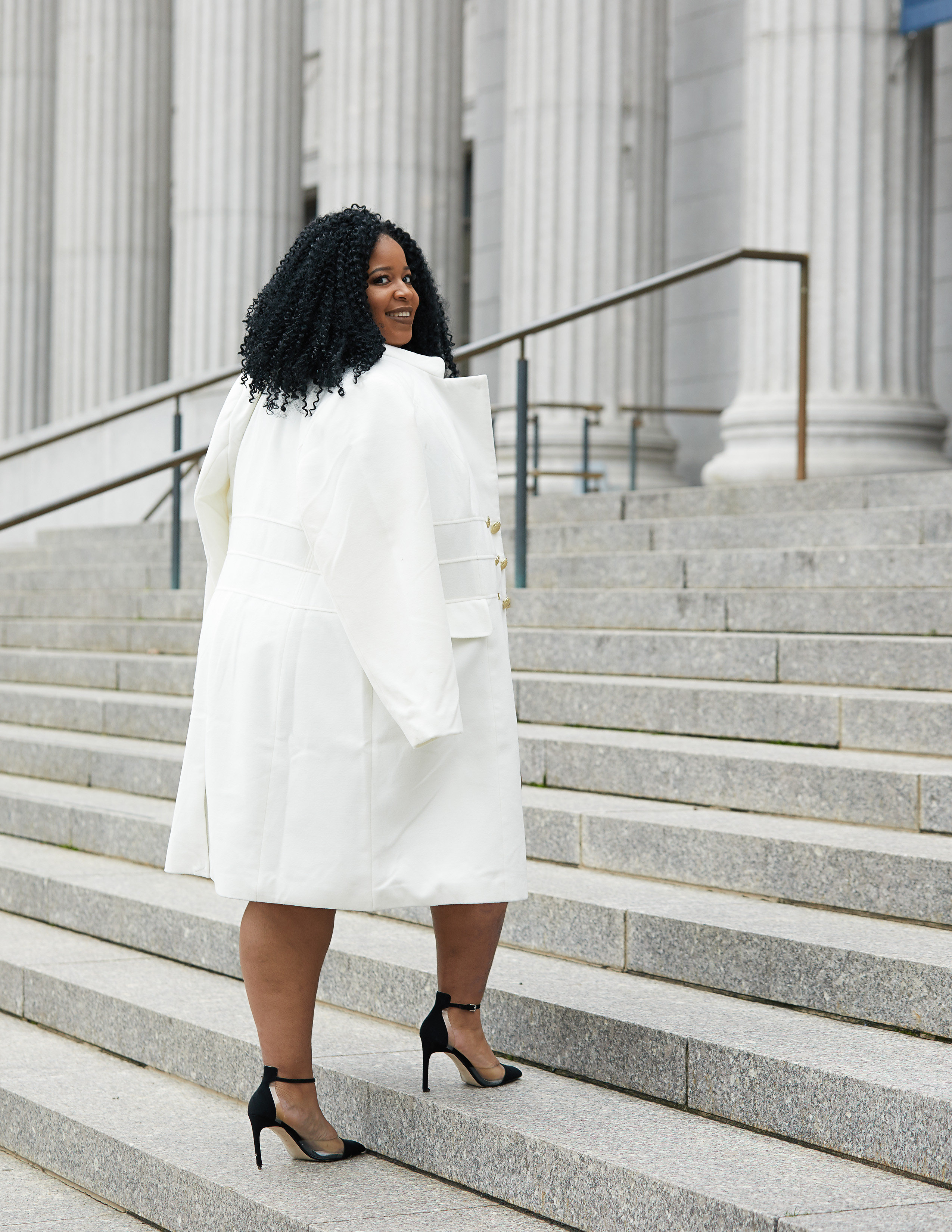 Plus Size Blogger Wearing Plus Size Peacoat from Scandal