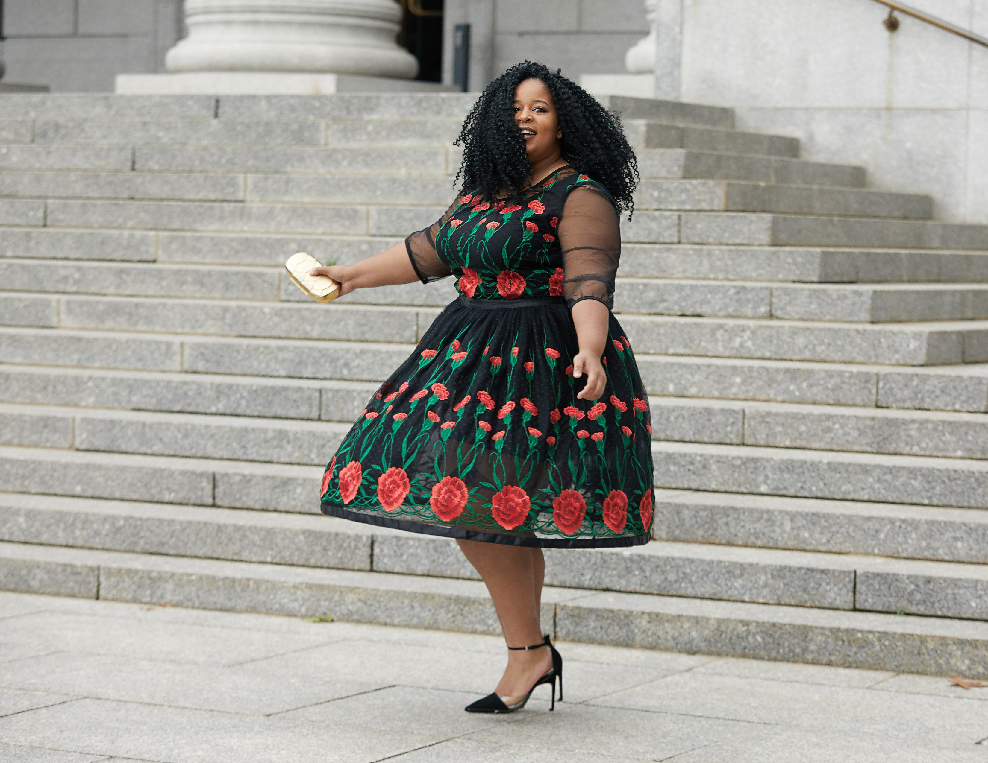 Chardline wearing Floral and Lace Flower Bomb dress by Eleven 60