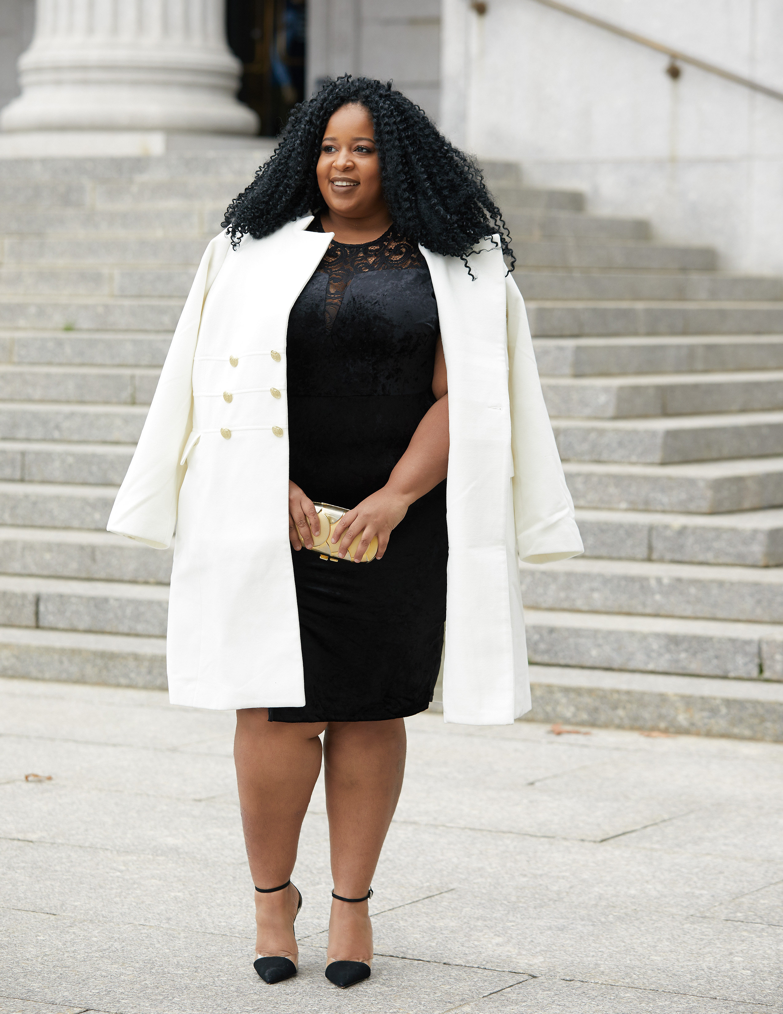 913b85ffcab Plus Size Blogger Wearing Plus Size Peacoat from Scandal