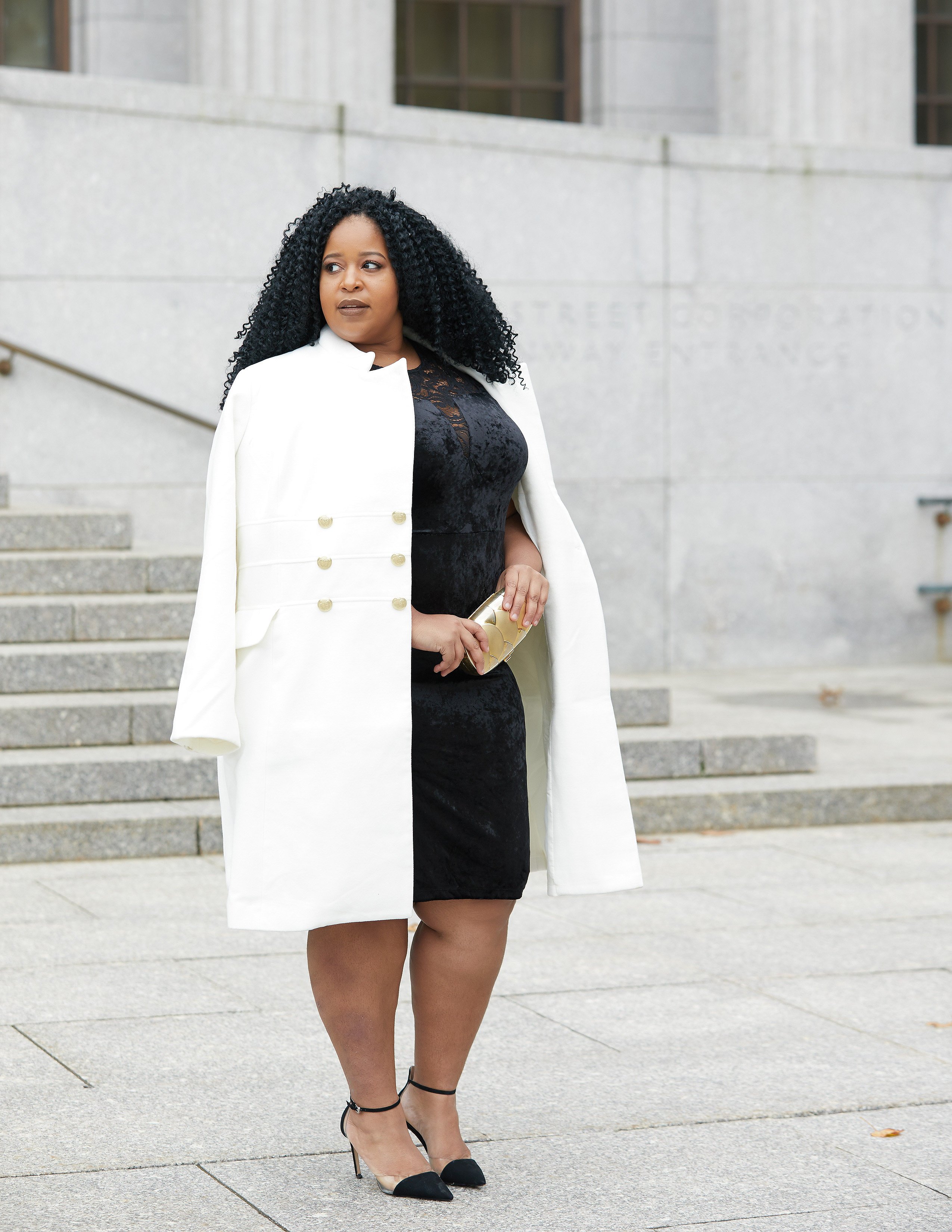 3d7accf85fb ... Plus Size Blogger Wearing Plus Size Peacoat from Scandal ...