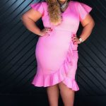Lane Bryant Pink Dress Plus Size Ruffles