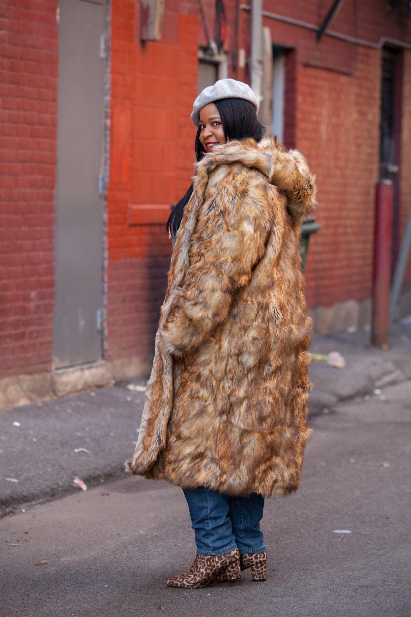 Plus Size Long Fur Jacket