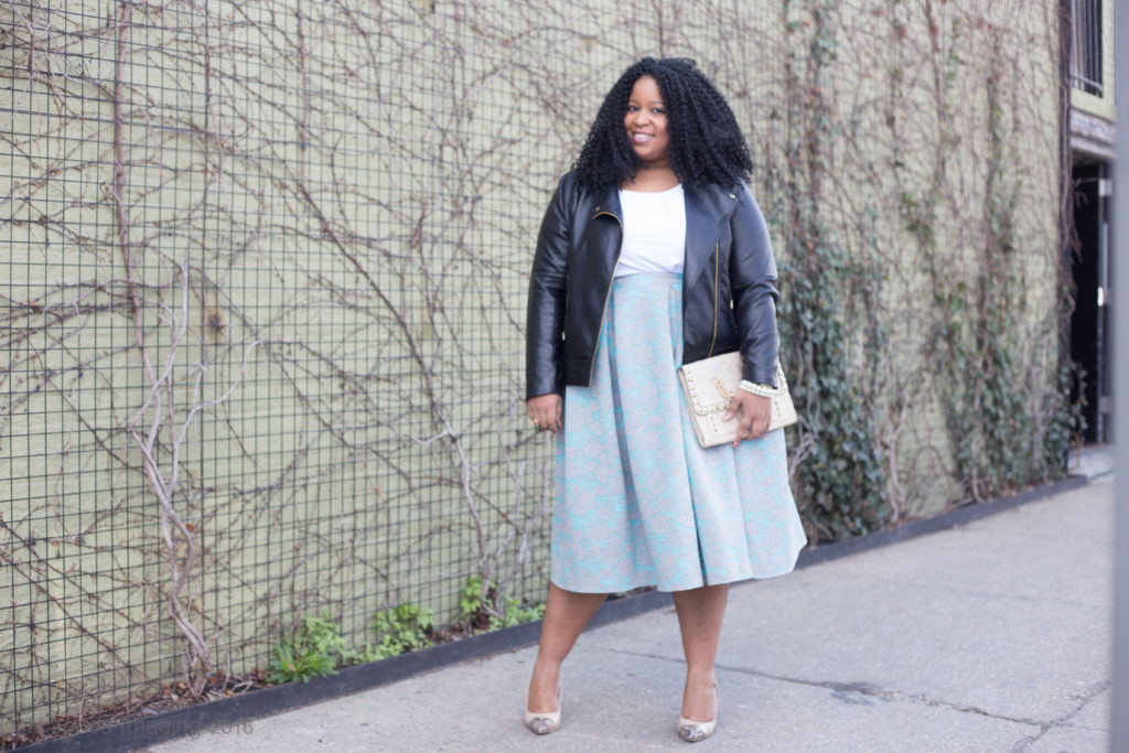 Chardline of Plus Size Beausion Wearing Moto Jacket from Lane Bryant and Skirt from Sweet Funk Boutique
